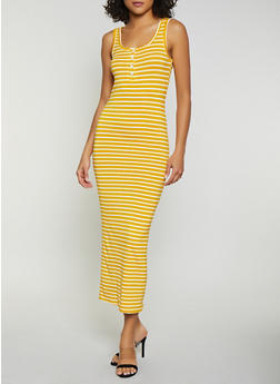 Half Button Striped Maxi Dress - 1410066493318