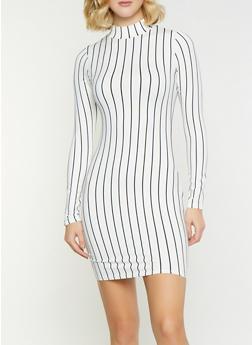 Striped Mock Neck Bodycon Dress - 1410066493543