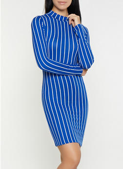 Striped Mock Neck Bodycon Dress - 1410066493543