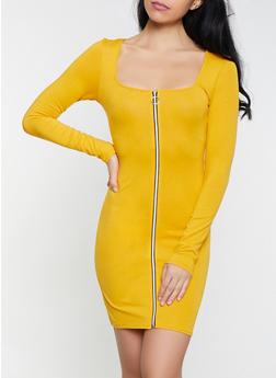 Zip Front Long Sleeve Dress - 1410066493604