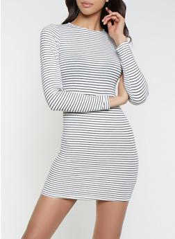 Striped Long Sleeve T Shirt Dress - 1410066493629