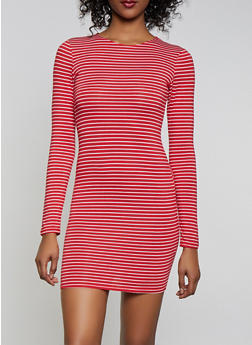 Striped Long Sleeve T Shirt Dress - 1410066493629