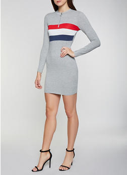 Striped Detail T Shirt Dress - 1410066493640