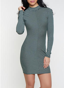 Striped Mock Neck Dress - 1410066493652