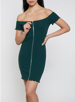 Off the Shoulder Zip Front Bodycon Dress - 1410066493680