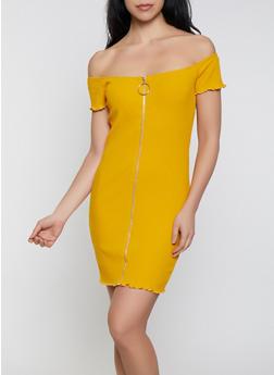 Off the Shoulder Zip Front Bodycon Dress - 1410066493680