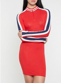 Side Stripe Half Zip Dress - 1410066493712