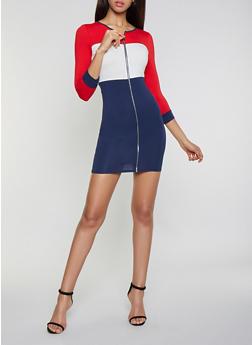 Color Block Zip Front Dress - 1410066493766