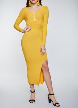 Front Slit Henley Maxi Dress - 1410066493832