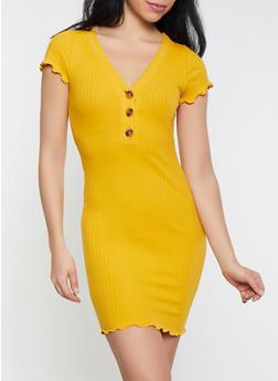 Ribbed Half Button T Shirt Dress - 1410066493836