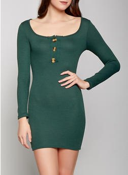 Long Sleeve Rib Knit Dress - 1410066494156