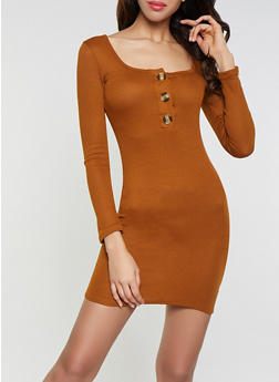 Long Sleeve Rib Knit Dress - 1410066494156