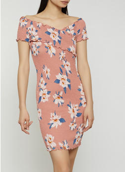 Floral Smocked Off the Shoulder V Neck Dress - 1410066494383