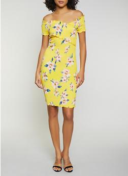 Floral Smocked Off the Shoulder V Neck Dress - 1410066494383