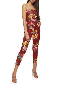 Strapless Floral Jumpsuit - 1410066494635