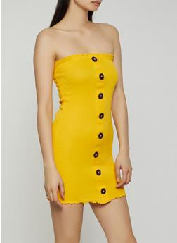 Faux Button Off the Shoulder Mini Dress - 1410066494665