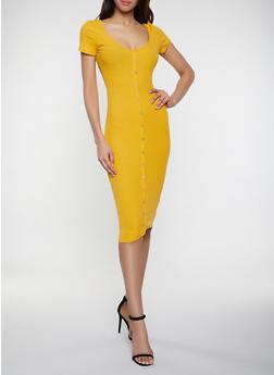 Faux Button Rib Knit Dress - 1410066494700