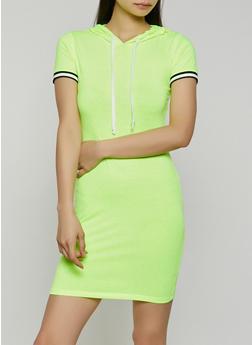 Striped Rib Knit Trim Hooded Dress - 1410066494748