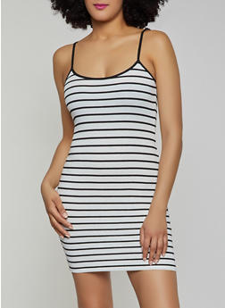 Contrast Trim Striped Tank Dress - 1410066494751