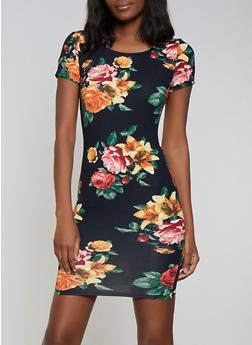 Floral Short Sleeve Bodycon Dress - 1410066494814 2d27e4fac