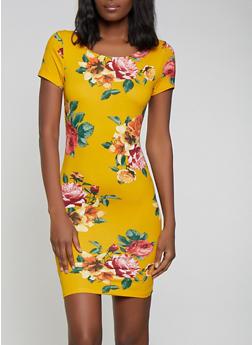 Floral Short Sleeve Bodycon Dress - 1410066494814
