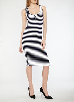 Striped Midi Tank Dress - 1410066494875