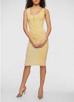 Striped Midi Tank Dress - 1410066494875