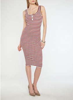 Striped Midi Dress with Button Detail - 1410066494875