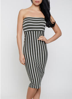 Striped Tube Bodycon Dress - 1410066494914