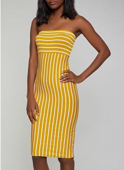 Striped Tube Bodycon Dress - 1410066494914