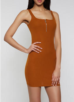 Half Zip Ribbed Knit Tank Dress - 1410066494952