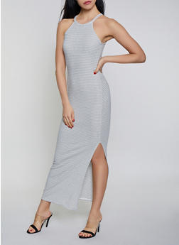 High Neck Striped Maxi Dress - 1410066495099