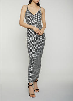 Striped V Neck Cami Maxi Dress - 1410066495215