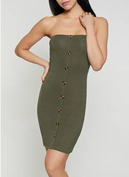 Button Front Tube Dress - 1410066495224