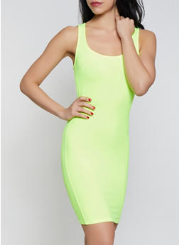 Solid Soft Knit Tank Mini Dress - LIME - 1410066495238
