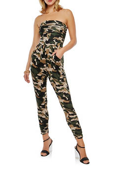 Strapless Camouflage Jumpsuit - 1410066495635