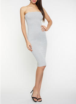Solid Midi Tube Dress - 1410066496295