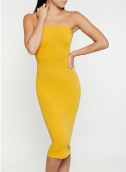 Solid Midi Tube Dress - 1410066496295