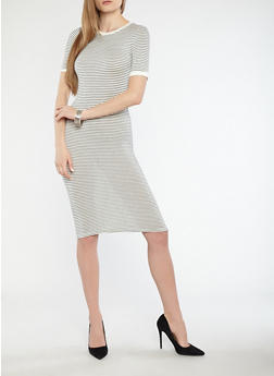 Striped Ringer T Shirt Midi Dress with Short Sleeves - 1410066496331
