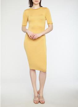 Striped Ringer T Shirt Midi Dress with Short Sleeves - 1410066496331