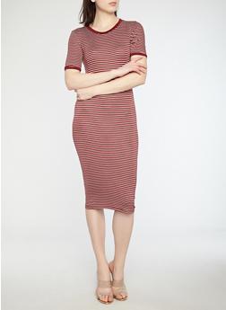 Striped Ringer T Shirt Dress - 1410066496331