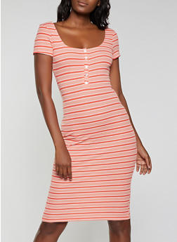 Striped Henley Bodycon Dress - 1410066496419