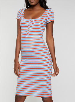 Striped Henley Bodycon Dress - 1410066496419