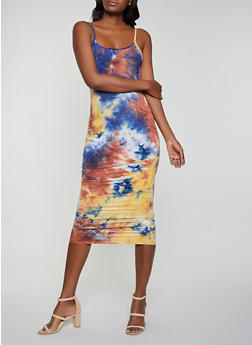 Tie Dye Ruched Cami Dress - 1410066497155