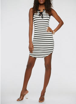 Lace Up Striped Tank Dress - 1410066497446