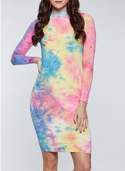 Tie Dye Mock Neck Dress - 1410066497953