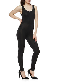 Solid Sleeveless Catsuit - 1410066498710