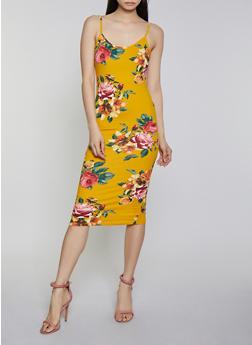 Printed Soft Knit Cami Dress - YELLOW - 1410066499788