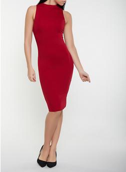 Ponte Knit Zip Back Dress - 1410068193206