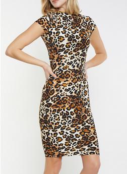 Leopard Print Mock Neck Dress - 1410068514187